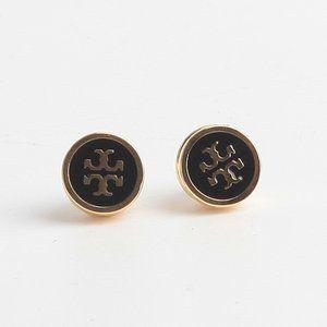 Tory Burch Lacquered Logo Black Stud Earrings